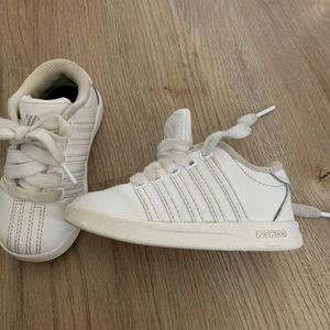 K Swiss white lace up sneakers. Toddler Size 6.